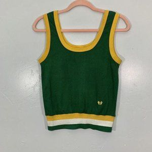 Vintage 70's Hands Off Green Gold White Tank Top